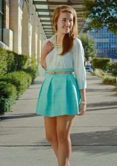 Light celeste cute shirt with bright turquoise light stripes cute skirt and brown leather belt and necklace the perfect street style outfits...