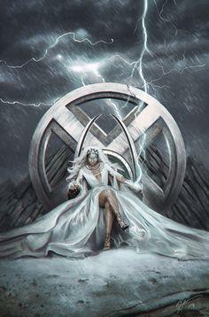 Artwork from the Marvel universe. Storm Comic, Storm Xmen, Storm Marvel, Comic Book Characters, Marvel Characters, Comic Books Art, Comic Art, Marvel Women, Marvel Girls