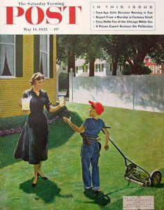1955, « la limonade pour le Lawnboy » - George Hughes Art - couverture du Magazine Saturday Evening Post - rétro des années 1950 Push tondeuse à gazon