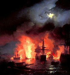 Battle of Çesme at Night (1856) | Ivan Aivazovsky