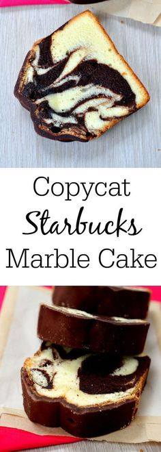 Rather than using a bundt pan, this moist Copycat Marble Pound Cake recipe is made in a loaf pan! Now you can make your Starbuck's favorite at home, and it's super easy! recipes starbucks food Copycat Marble Pound Cake - A Moist Marble Cake Recipe Loaf Recipes, Pound Cake Recipes, Easy Cake Recipes, Baking Recipes, Dessert Recipes, Copycat Recipes Desserts, Muffin Pan Recipes, Cake Recipes At Home, Recipies