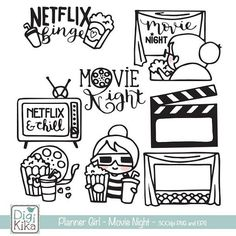 Planner Girl – Movie Night – Netflix Stamp Clipart – Planner… – Home Decoration Clipart, Doodle Drawings, Doodle Art, Ticket Drawing, Bullet Journal Ideas Pages, Printable Planner Stickers, Digi Stamps, Mini Albums, Coloring Pages