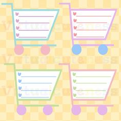 Shopping Cart Shopping List Clipart - Grocery List, Printable Stickers, Planner, Scrapbook, Pastel, Free Commercial and Personal Use