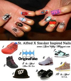 Sneaker Pimpin' Your Nails w/ help fr @astrowifey on FB/Twitter. Posts tons of her cool nail art ideas! Follow her fast!