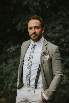 Earth tone groom in olive tan jacket, floral necktie, and suspenders - Groom Style - Khaki Wedding, Wedding Tux, Casual Wedding, Wedding Attire, Summer Wedding, Garden Wedding, Seaside Wedding, Wedding Ideas, Green Wedding Shoes