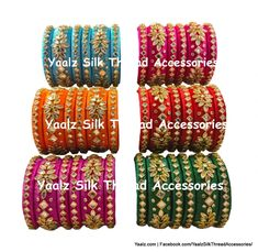 Yaalz Heavy Kundan Stone Partywear Bangle Sets In 6 Assorted Colo Silk Thread Bangles Design, Thread Jewellery, Kundan Bangles, Designer Punjabi Suits, Bangle Set, Red Gold, Antique Gold, Green Colors, Jewels