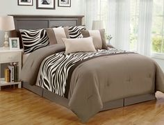 Comforter Set Bed-in-a-bag 7 Pieces Queen or King Oversize Zebra Print Bedding #WPM