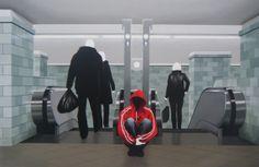 "Xevi Villaro ""Metro"" - Love Series- Acrylic on Canvas- Original 33 x 49"
