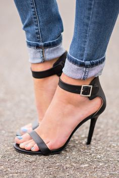 Classy Or Sassy Strap Stiletto Heels In Black - NanaMacs.com - 1