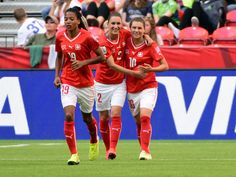 Switzerland forward Ramona Bachmann (10) celebrates with teammates after scoring a goal against Ecuador during the second half in a Group C soccer match in the 2015 FIFA women's World Cup at BC Place Stadium. Mandatory Credit: Anne-Marie Sorvin-USA TODAY Sports