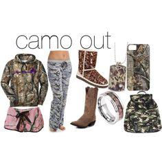 camo out by emmalou15 on Polyvore featuring polyvore fashion style P.J. Salvage Realtree UGG Australia Wet Seal