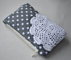 Coin purse wallet: vintage doily on grey and white polka dot fabric..