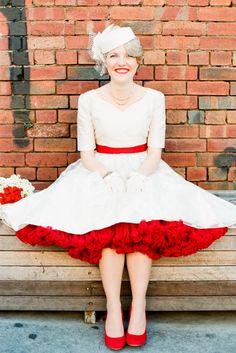 <3 the short dress w/red petticoat