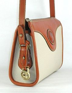 Authentic Vintage Dooney and Bourke Vintage All Weather Leather Zip Top bag bone and British tan