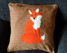 "Fox pillow cover ""Coy Red Fox"", Handmade, appliqued, animal"