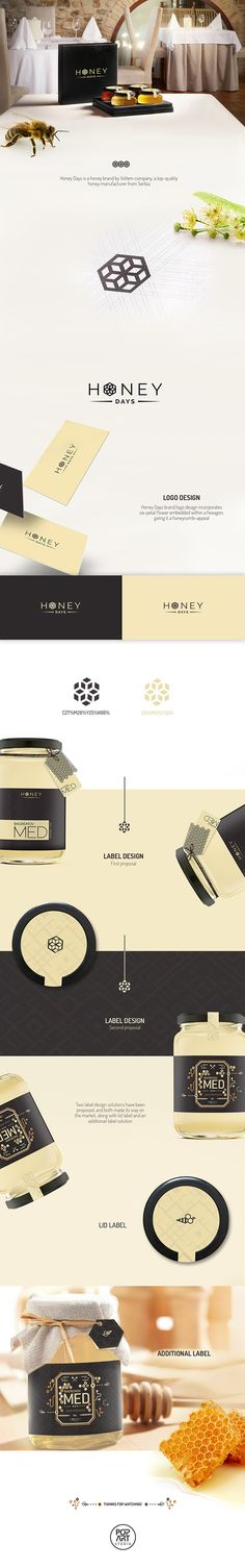 Logo design and label design for the packaging of Honey Days, a honey brand by Voltem company, a top-quality honey manufacturer from Serbia. The logo consists of a six-petal flower embedded within a hexagon, giving it a honeycomb appeal. #logodesign #labeldesign #packaging #portfolio