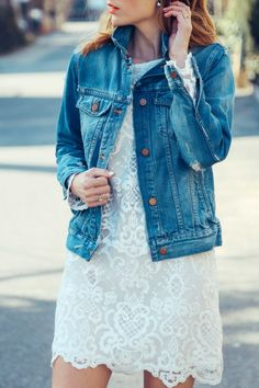madewell denim jacket, lace dress, casual tomboy, prosecco and plaid