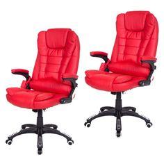 2-Red-Heated-Ergonomic-Computer-Desk-Office-Massage-Chair-hydraulic-Remote-wheel
