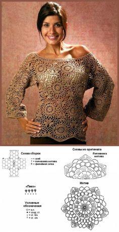 La blusa de los motivos de flores por el gancho. La blusa de estilo femenina por el gancho |