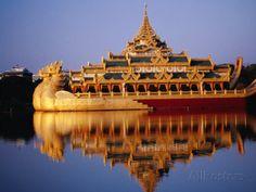Floating Royal Barge, Karaweik, on Lake Kandawgyi, Mandalay ...