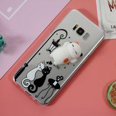 Quish Silicone Cat TPU 3D Cute Phone Case Squishy for Samsung Galaxy S8