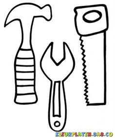 Hammer Saw And Wrench Coloring Pages Use To Make Construction Tool Coloring Pages