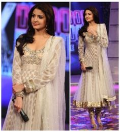 Anushka Sharma style Anarkali Suit at FKF has everything that a stage performer expects, shimmering lace, see through flair and duptta as well as matching Churidar