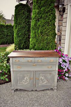 Miss Mustard Seed Trophy Antique Buffet - Gray Table Home
