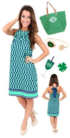 #StPatricksDay WE ARE READY! Grab this perfect dress for St. Patricks Day from MONDAYDRESS.COM before it sells out! Accessories are from MARLEYLILLY.COM -  #green #gogreen #stpattys #stpatricks #marchmadness #monogram