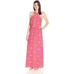 Alice & Trixie Women's Natasha Maxi Dress ($416) ❤ liked on Polyvore featuring dresses, blouson dress, pink dress, elastic waist dress, elastic waist maxi dress and pink maxi dress