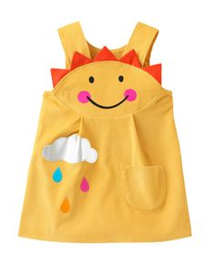 Girls pinafore dress with sunshine smiley by wildthingsdresses