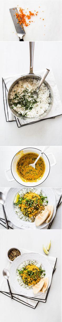 Golden Red Lentil Dal with Cilantro-Speckled Basmati via ohsheglows