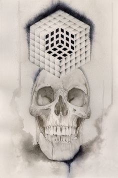 Cube Skull #PrintsForSale #Cube #Cubes #Skull #Finished #Fun http://www.nickchaboya.com/store/  @NickChaboya