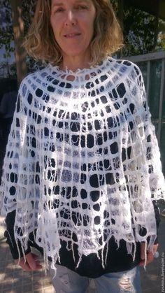 """Купить Пончо ажурное валяное """"Паутина"""" - абстрактный, пончо, ажурный узор, сетка, летняя мода"""