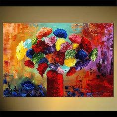 "Original Contemporary Abstract Floral Painting Modern Palette Knife Colorful Acrylic Blooming Flowers by Osnat - MADE-TO-ORDER - 36""x24"""