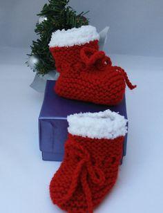 Babys first christmas booties newborn booties by sweetygreetings, £2.80