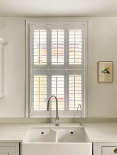 Our Tier on Tier shutters add a classical twist to this modern kitchen #tierontier #londonshutters #plantationshutters Kitchen Shutters, Kitchen Sink, Modern, Home Decor, Kitchen Blinds, Trendy Tree, Decoration Home, Room Decor, Home Interior Design