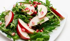 Mizuna Greens Salad with Pomegranate Seeds and Sliced Apple