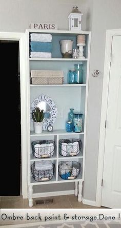 Master Bath Built In with Ombre Paint Back Ombre Paint, Back Painting, New Builds, Built Ins, Bathroom Medicine Cabinet, Master Bath, Jars, Upcycle, Baskets