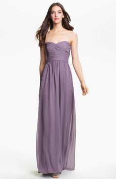 Monique Lhuillier ML  Strapless Ruched Chiffon Sweetheart Gown on shopstyle.com