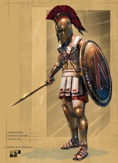 Greek hoplite, the symbol on his shield belongs to Sparta.