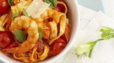 Tomato prawns pasta