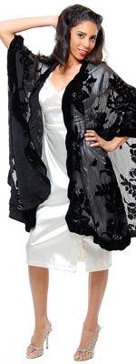 Fabulous Ruffled Riwanna Black Burnout Silk Velvet Shawl #uniquevintage