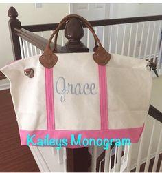Large Carry On Bag  Personalized  Carry On Bag #babygirl #babyshower #hospitalbag