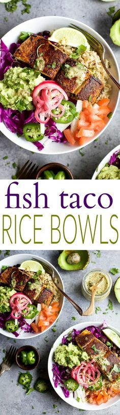 FISH TACO RICE BOWLS with avocado and pickled onions, topped with a Cilantro Lime Dressing! The perfect 30 minute meal to satisfy even the pickiest of eaters!   http://joyfulhealthyeats.com   Gluten Free Recipes