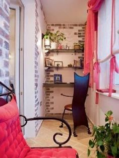 Love the chair! Decorate your apartment balcony in elegant pink. The white and gray brick walls give great contrast to the sharp colored furniture and the shelves perfectly fit the walls for the books and photo frames. Apartment Balcony Decorating, Apartment Balconies, Apartment Design, Balcony Chairs, Balcony Furniture, Porches, Small Space Design, Small Spaces, Ideas Terraza