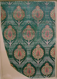Fragment Date: 16th century Geography: Turkey Culture: Islamic Medium: Silk, metal wrapped thread; lampas (kemha) Dimensions: Textile: H. 56 1/2 in. (143.5 cm) W. 23 1/4 in. (59.1 cm) Mount: H. 47 1/8 in (119.7 cm) W. 31 1/4 in (79.4 cm) Classification: Textiles Credit Line: Rogers Fund, 1917 Accession Number: 17.22.6a–d