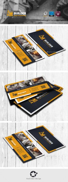 Construction Business Card Templates — Photoshop PSD #vehicle #freight • Available here → https://graphicriver.net/item/construction-business-card-templates/11687269?ref=pxcr