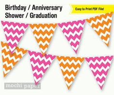 Pink and Orange Chevron Banner DIY Party by MochiPaperShop on Etsy, $4.50