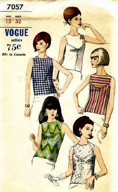 Overblouse Vogue 1960s Vintage Sewing Pattern 7057 - KarensVariety.com